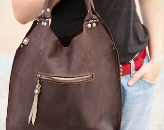 Brown leather tote, every day tote bag Mała ladybuq art design