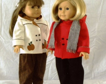 "Doll Pattern / Hooded Jacket / Slacks /  Backpack / Pattern  for an 18"" doll / by Carol Clements"