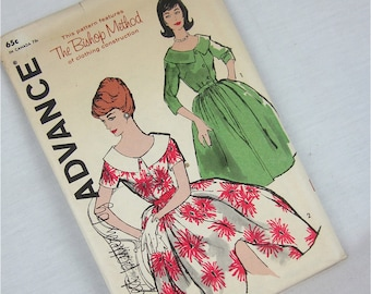 Vintage 50s Dress Sewing Pattern, Advance, 9653