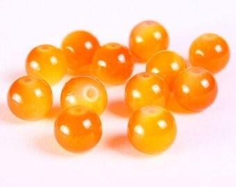 8mm Orange glass beads - 8mm opaqe beads - 8mm orange round beads (1165) - Flat rate shipping