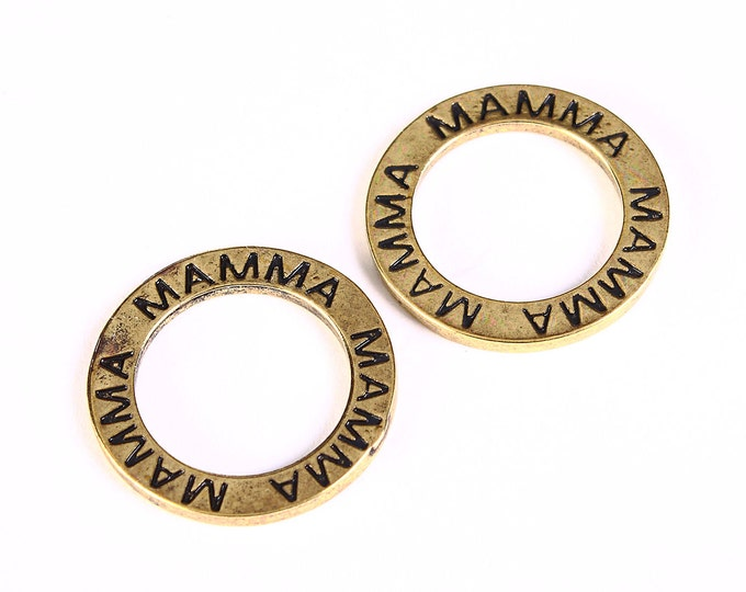 "23mm ""mamma"" message circle charm pendant antique brass antique bronze - 4 pieces (1299) - Flat rate shipping"