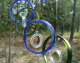 GLASS WINDCHIMES from RECYCLED bottles, eco friendly, green blue clear, garden decor, wind chimes, mobiles, musical, windchimes