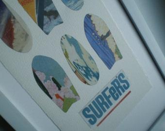 Vintage Poster Surf Collage Art