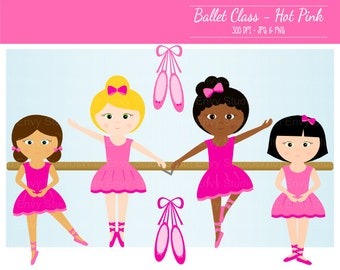 50% OFF  Ballet Clipart - Ballerina Clipart - Dance Clip Art - Pink Ballerina Graphics - Commercial Use - Instant Download