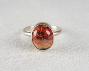 Jasper Ring Artisan Ring 925 Silver Ring Earthy Ring Bezel Set Ring Natural Stone Ring Made to Order Ring