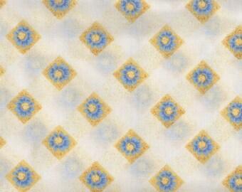 SALE, Floral Fabric, Daisy Fabric, Blue Fabric, Yellow Fabric, Daisy Trellis, 1 yard Fabric, 01711