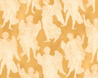 Fat Quarter, Angel Fabric, Our Father Angel, Gold Fabric, Christmas Fabric, Angels, Gold Angels, 01901