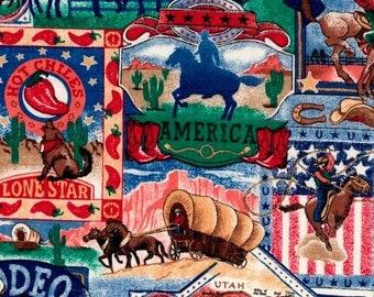 Western, Wagon Fabric, Horse Fabric, Western Cowboy Fabric, Rodeo Scenic, 01970