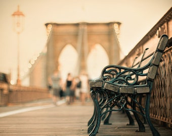 New York City bench on the Brooklyn Bridge at dusk, with lights on. Bench photo, NYC decor.