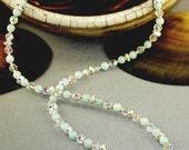 17 Inch Amazonite, Swarovski and Sterling Silver Necklace