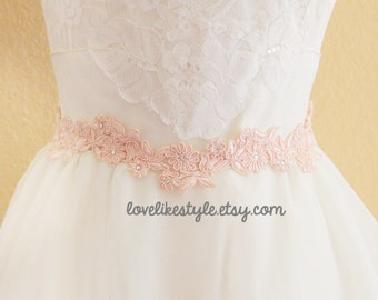 Peach Flower Lace with Satin Ribbon Sash // Bridal Sash , Bridesmaid Sash, Head tie, Headband , Wedding Sash