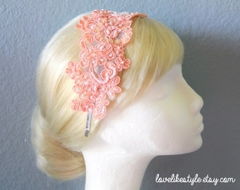 Peach Lace and Pearl Beading Flower Lace Headband, Bridal Headband, Bridesmaid Headband