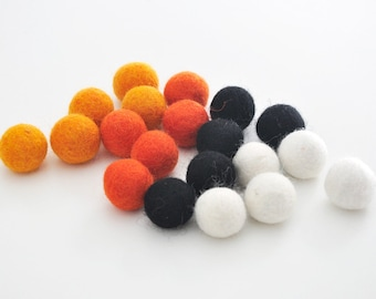 Halloween Felt Ball Pack, 20 Pieces, Wool Felt Balls