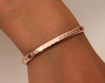 Thick Hammered Cuff Bracelet, Rose Gold Filled (352.rgf)