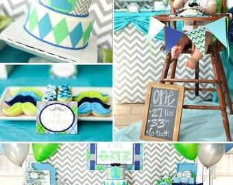 Little Man Mustache Bash - Mustache Birthday Party - PRINTABLE Personalized Party Package - Chevron