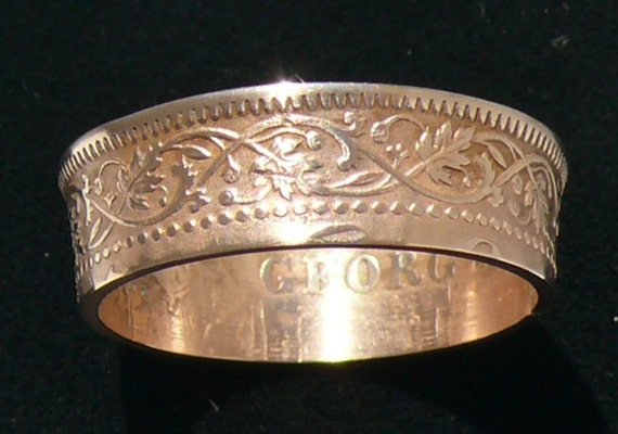 Bronze Coin Ring 1940 India - British 1/4 Anna - Ring Size 8 1/2 and Double Sided