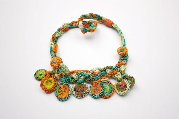 Colorful knitted necklace, Bamboo and textile jewelry, OOAK