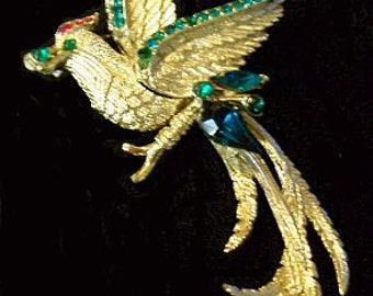 "Designer Signed Rhinestone Brooch Fancy Bird  Red Green Gold Metal BIG 4"" Vintage Mid Century"