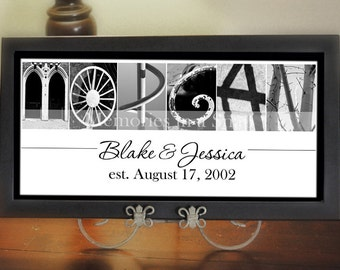Housewarming Gift, Alphabet Photo Letter Art in a 10x20 UNFRAMED Print by Memories in a Snap
