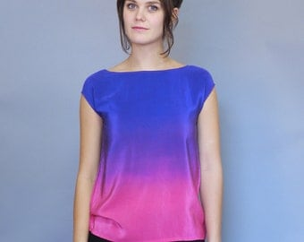 Hand Dyed Silk Top, Ombre Silk.  An Ode to Rothko.