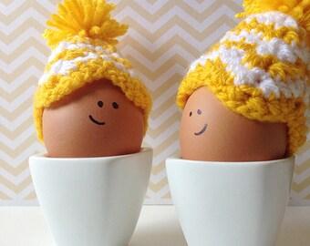 Yellow and white chevron crochet egg cozies