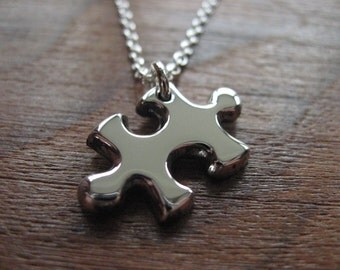 Miniature Silver Puzzle Piece Pendant Necklace (Thick)