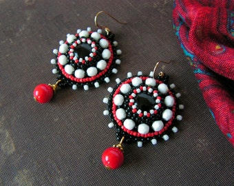 Beadwork Earrings Bead embroidery Earrings Bead embroidered jewelry Boho Earrings Black Red White Earrings Red Dangle Earrings MADE TO ORDER