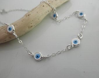 multi evil eye sterling silver chain bracelet - multiple evil eyes bracelet - greek jewelry - evil eye jewelry - protection bracelet