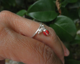 Ladybug charm ring  and a tiny  pearl on sterling silver
