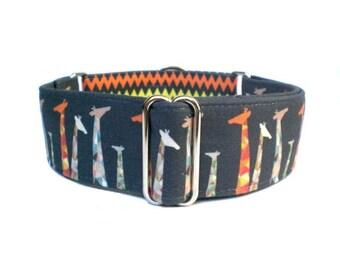 """Geo Giraffe Dog Collar - Geometric Giraffes and Chevron Buckle Dog Collar, Martingale Collar, 1"""" or 1.5"""" Dog Collar"""