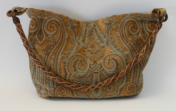 Large Camel color Hobo bag in Venetian paisley design tapestry