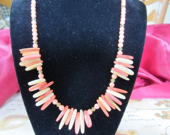 Peach and White Fan Necklace