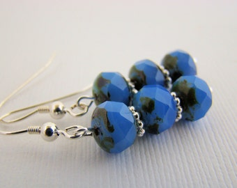 Earrings, Dangle, Czech Glass,Cornflower Blue, For Her