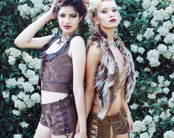 brown suede steampunk vest  leather steampunk/ burlesque victorian style vest