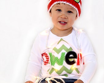 Christmas Custom name shirt photo prop Christmas tree longsleeved toddler boy girl baby applique onesie
