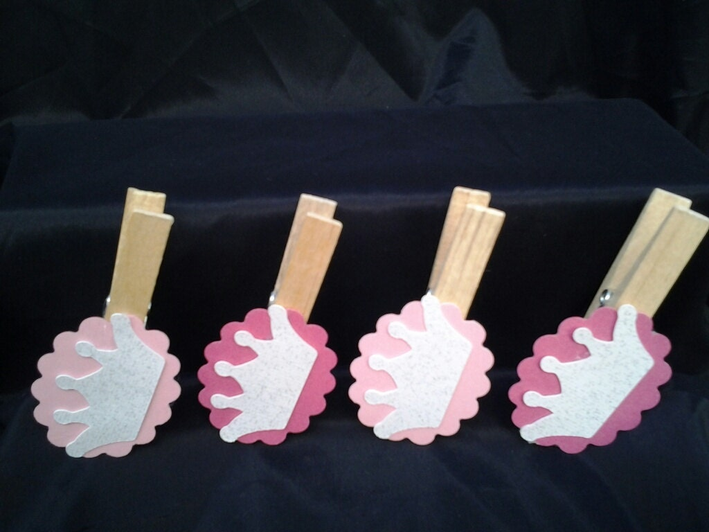 12pc decorated clothes pins baby shower game princess theme