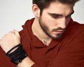 سوار, men's bracelet, simple & modern handmade, industrial wristband, urban zipper design.