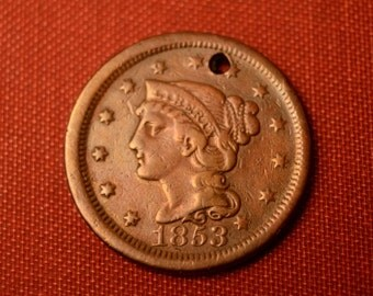 1853 Braided Hair Liberty Head Large Cent -  Holed - XF DETAILS