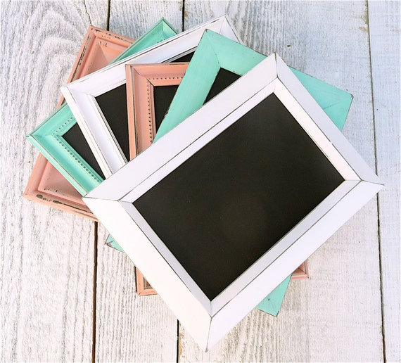 Wedding Decor Chalkboards, Table Markers, Table Numbers, Mint Green and Vintage PInk, set of 10