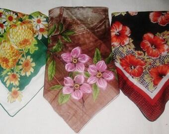3 Vintage Cotton Hankies Handkerchiefs Autumn Colors Original Tag