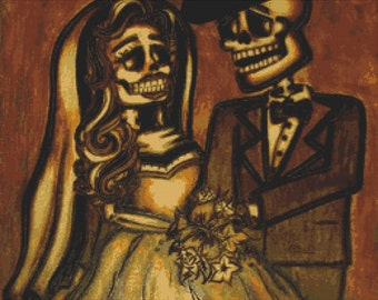 Day of The Dead Cross Stitch Kit By Brittani Nay 'Bride and Groom'