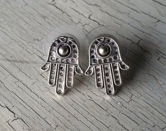 Silver Hamsa Hand Earrings - Hamsa Stud Earrings - Silver Stud Earrings, Hamsa Hand Post Earrings