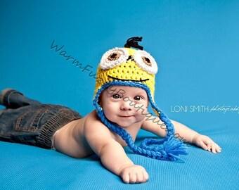 Instant Download PDF Crochet Pattern - No. 10 Baby Minion Ear Flap Hat - 5 Sizes