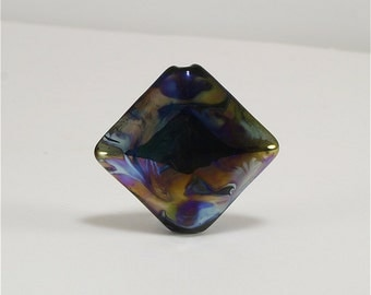 Handmade Lampwork Glass Bead Focal Black Purple Blue Gold Green SRA DUST Team LE Team