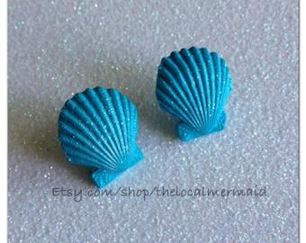 Little Mermaid earrings / scallop earrings / mermaid earrings / little mermaid cosplay / polymer clay shell