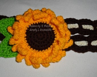 Sunflower Headband - Crochet Pattern 59 - US and UK Terms - Newborn to Adult - Instant DOWNLOAD