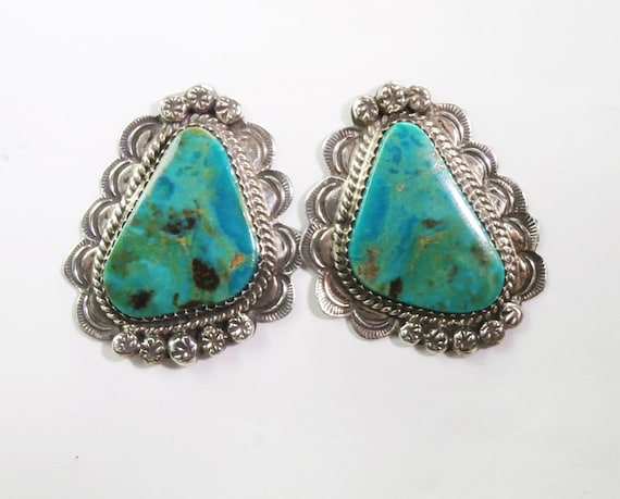 Natural Turquoise Native American and Sterling  Silver Earrings, Large Handmade Earrings Now 150