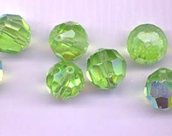 Eight vintage Czech round faceted crystals - peridot AB - 16 mm