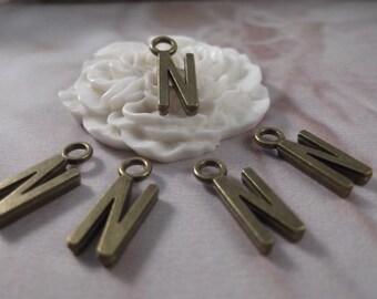 """5 Letter """"N"""" Antique Bronze Charms --- Antique Bronze Color"""