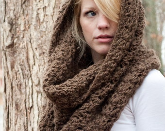Chunky Cowl Scarf Shawl Hood - Mocha/Bark - large - limited quantities - the CHARLOTTE